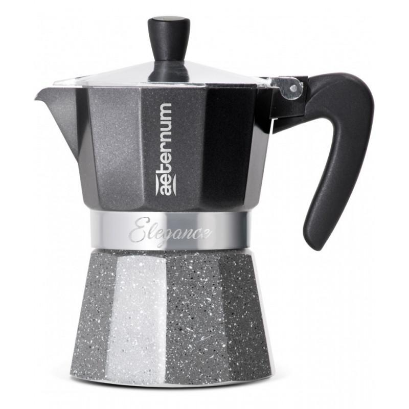 Kawiarka Bialetti Aluminiowa Aeternum Elegance 3 tz na trzy espresso 3tz, czarno szara kawiarka pokryta emalią