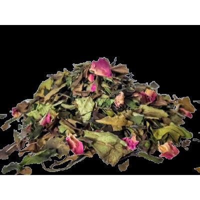 Biała Herbata z płatkami róż, herbata różana, herbata liściasta Pai Mu Tan z różą