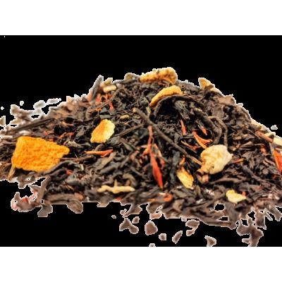 Herbata czarna z dodatkiem skórki pomarańczowej i saflorem.