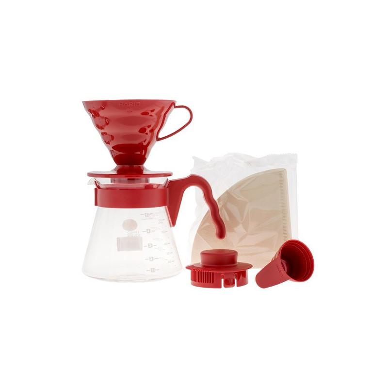 Hario zestaw V60 Pour Over Kit Red drip + serwer + filtry, Zestaw Hario do parzenia kawy